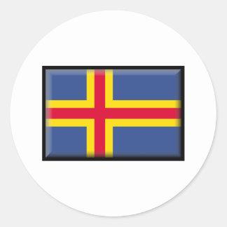 Bandera de las islas de Aland Pegatina Redonda