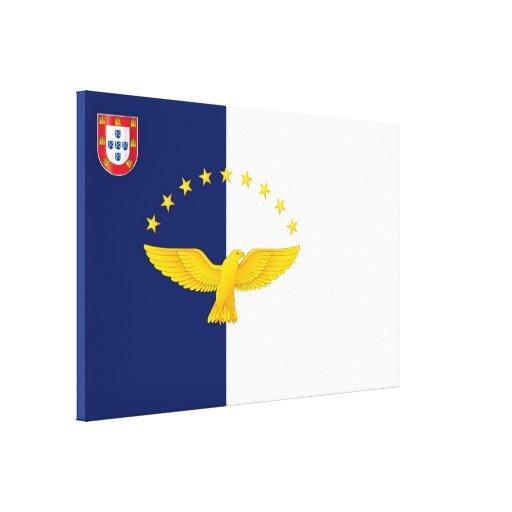Bandera de las islas de Azores Lienzo Envuelto Para Galerías