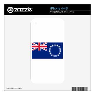 Bandera de las islas de cocinero calcomanías para el iPhone 4S
