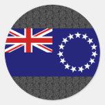Bandera de las islas de cocinero etiqueta redonda