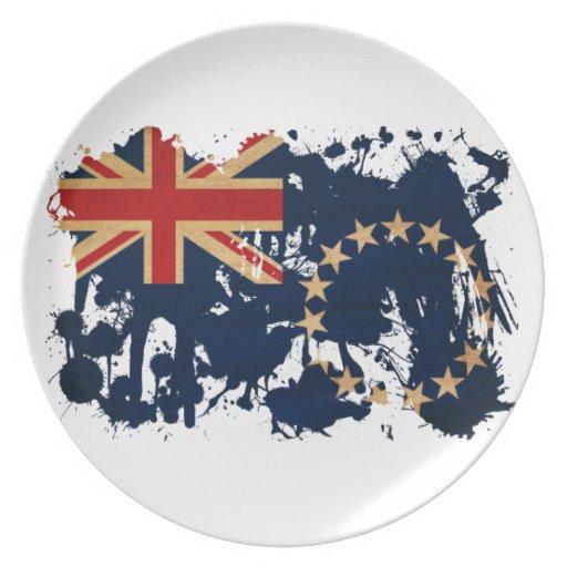 Bandera de las islas de cocinero plato de comida