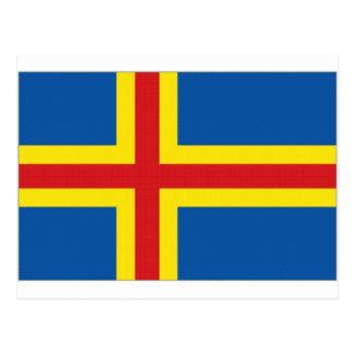 Bandera de las islas de Finlandia Aringland Tarjeta Postal