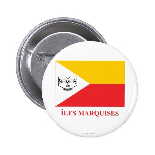 Bandera de las islas de Marquesas con nombre en fr Pins