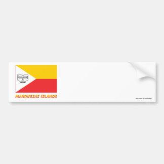 Bandera de las islas de Marquesas con nombre Pegatina Para Auto