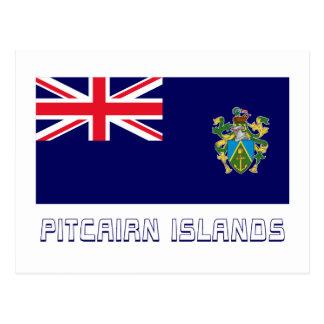 Bandera de las islas de Pitcairn con nombre Postales
