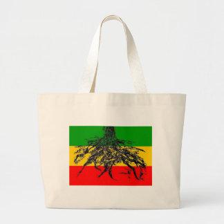 Bandera de las raíces bolsa tela grande