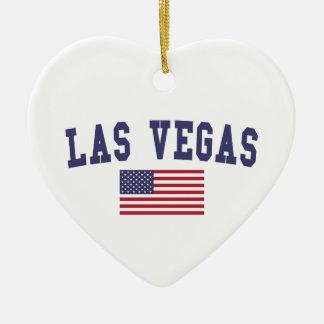 Bandera de Las Vegas los E.E.U.U. Adorno Navideño De Cerámica En Forma De Corazón