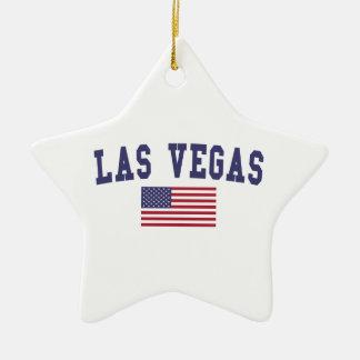 Bandera de Las Vegas los E.E.U.U. Adorno Navideño De Cerámica En Forma De Estrella
