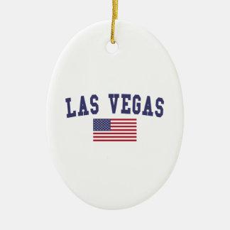 Bandera de Las Vegas los E.E.U.U. Adorno Navideño Ovalado De Cerámica