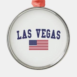 Bandera de Las Vegas los E.E.U.U. Adorno Navideño Redondo De Metal