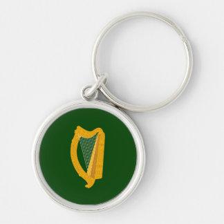 Bandera de Leinster Llavero Redondo Plateado