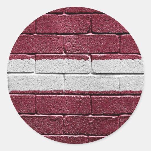 Bandera de Letonia Etiqueta Redonda
