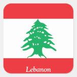 Bandera de Líbano Calcomanías Cuadradas