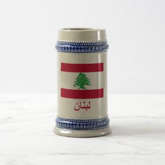 Bandera de Líbano con nombre en árabe Jarra De Cerveza