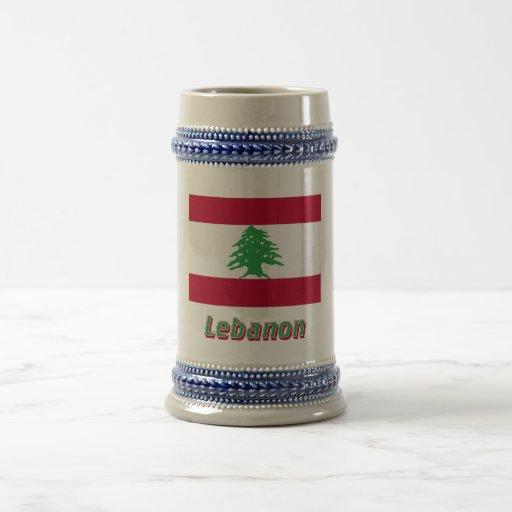 Bandera de Líbano con nombre Tazas De Café