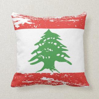 Bandera de Líbano del Grunge Cojín Decorativo