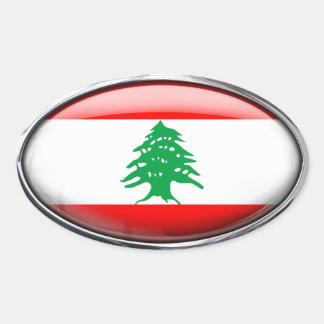 Bandera de Líbano en el óvalo de cristal (paquete Pegatina Ovalada