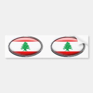 Bandera de Líbano en el óvalo de cristal Pegatina Para Auto