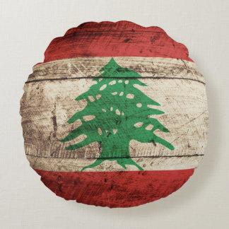 Bandera de Líbano en grano de madera viejo Cojín Redondo