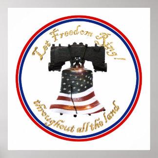 Bandera de Liberty Bell w/American - deje el anill Posters