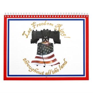 Bandera de Liberty Bell w/American - deje el Calendario De Pared