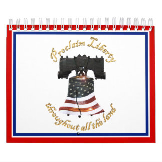 Bandera de Liberty Bell w/American - proclame la Calendario