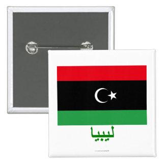 Bandera de Libia con nombre en árabe Pin Cuadrado