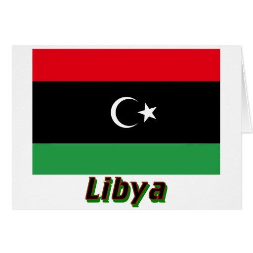 Bandera de Libia con nombre Tarjeta De Felicitación