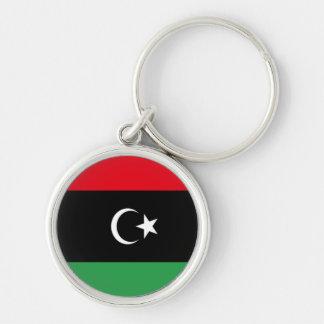 Bandera de Libia Llavero Redondo Plateado