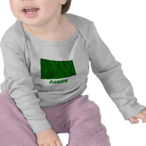 Bandera de Libia que agita con nombre en ruso Camisetas