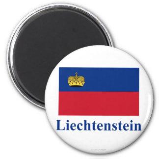 Bandera de Liechtenstein con nombre Imán Redondo 5 Cm