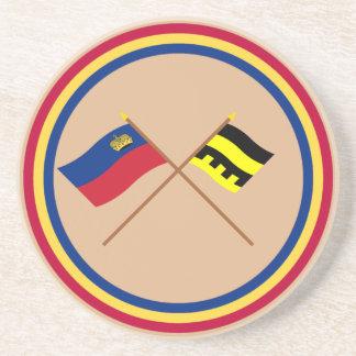 Bandera de Liechtenstein y bandera de Schellenberg Posavasos Cerveza