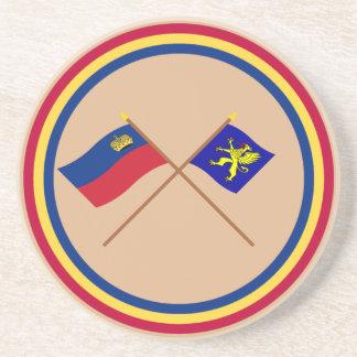 Bandera de Liechtenstein y bandera heráldica de Ba Posavasos Cerveza