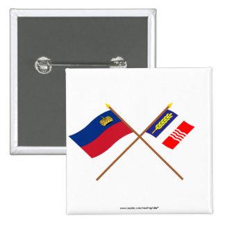 Bandera de Liechtenstein y bandera heráldica de Sc Pin Cuadrado