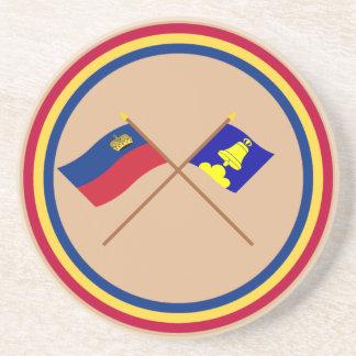 Bandera de Liechtenstein y bandera heráldica de Tr Posavasos Para Bebidas