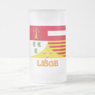 Bandera de Liège con el nombre (francés) Taza Cristal Mate