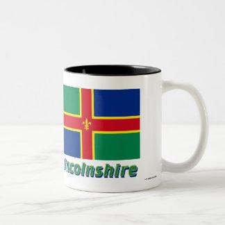 Bandera de Lincolnshire con nombre Taza De Dos Tonos