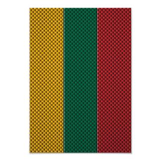 Bandera de Lituania con efecto de la fibra de Invitación 8,9 X 12,7 Cm
