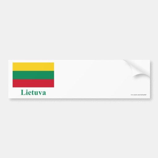 Bandera de Lituania con nombre en Lithuanian Pegatina Para Auto