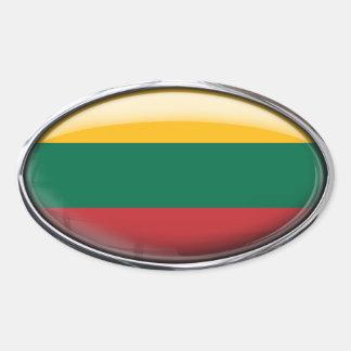 Bandera de Lituania en el óvalo de cristal Pegatina Ovalada