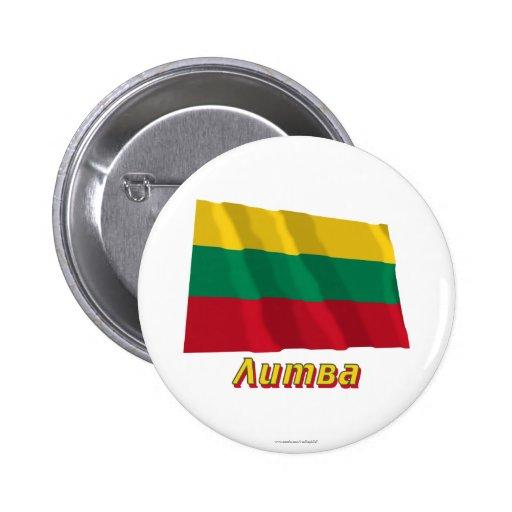 Bandera de Lituania que agita con nombre en ruso Pins