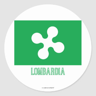 Bandera de Lombardia con nombre Pegatina Redonda