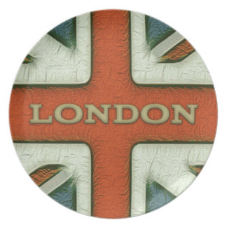 Bandera de Londres Reino Unido Plato De Cena