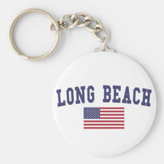 Bandera de Long Beach NY los E.E.U.U. Llavero Redondo Tipo Pin