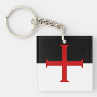 Bandera de los caballeros Templar Llavero Cuadrado Acrílico A Una Cara