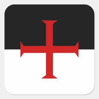 Bandera de los caballeros Templar Pegatina Cuadrada