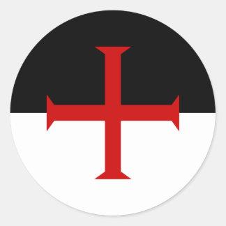 Bandera de los caballeros Templar Pegatina Redonda