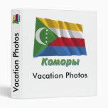 Bandera de los Comoro que agita con nombre en ruso
