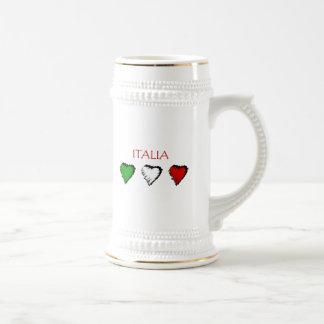 Bandera de los corazones de Italia del amor del it Tazas De Café