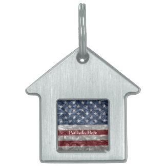 Bandera de los E.E.U.U. - arrugada Placa De Mascota